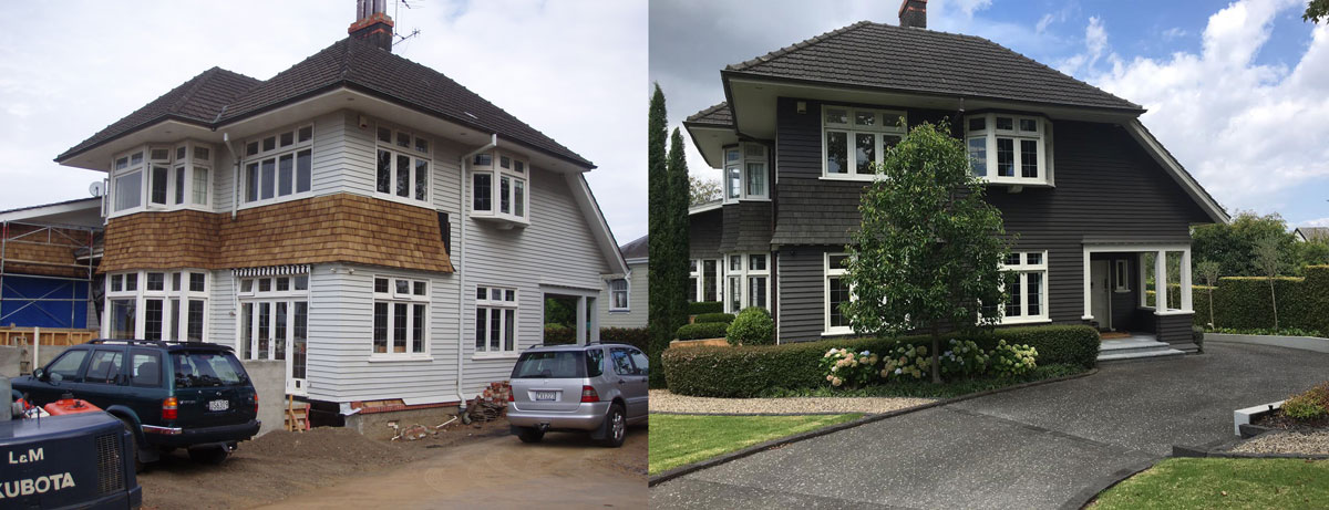 Before and after photos of Arney road built by Brownbuilt Construction